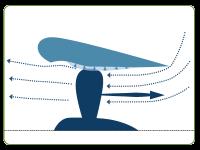 La tuyère à décrochage 'décolle' la couche limite avant la zone d'aspiration. Elle ne gêne pas la marche arrière.